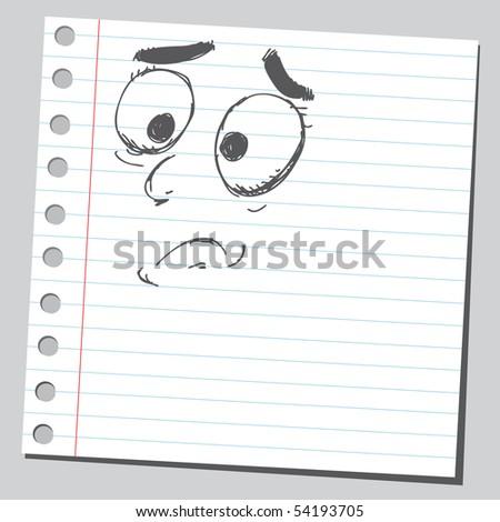 Scribble sad face - stock vector