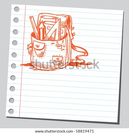 Scribble school bag - stock vector