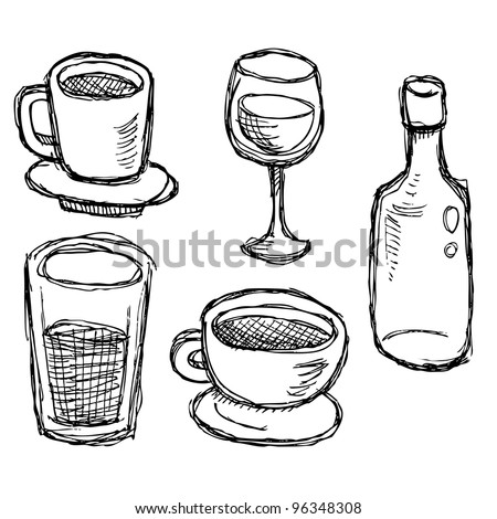 scribble series - drinks - stock vector
