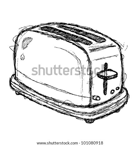 scribble series - toaster - stock vector