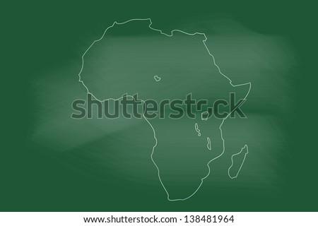 scribble sketch of Africa map on blackboard - stock vector
