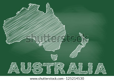 scribble sketch of Australia map on blackboard - stock vector