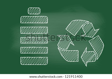scribble sketch of battery recycling on blackboard - stock vector