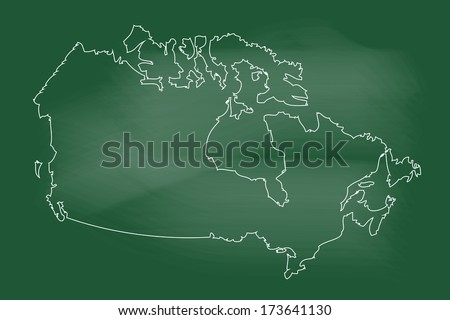 scribble sketch of canada map on blackboard - stock vector