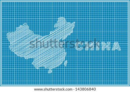 scribble sketch of China map on blueprint - stock vector