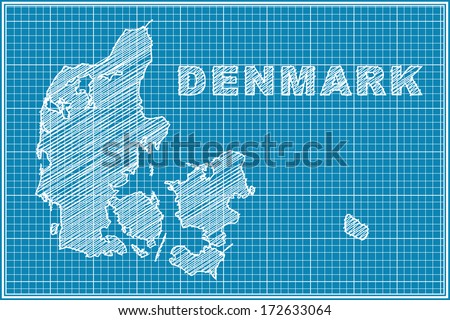 scribble sketch of Denmark map on blueprint - stock vector