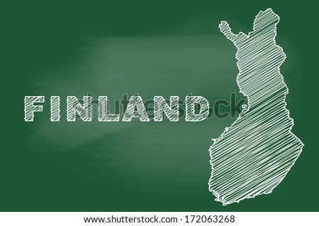 scribble sketch of Finland map on blackboard - stock vector