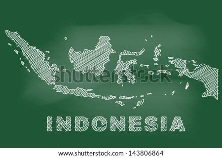 scribble sketch of Indonesia map on blackboard - stock vector