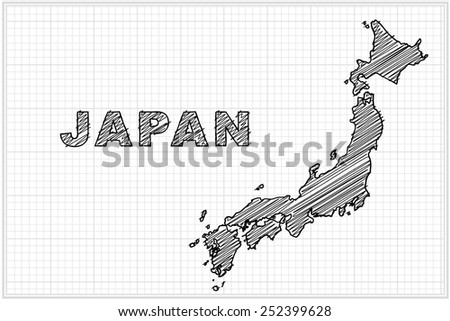 scribble sketch of Japan on grid,Vector illustration. - stock vector