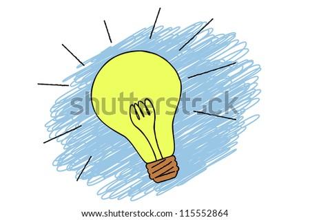 scribble sketch of light bulb idea - stock vector