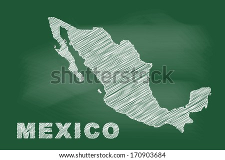 scribble sketch of mexico map on blackboard - stock vector