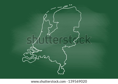 scribble sketch of Netherlands map on blackboard - stock vector