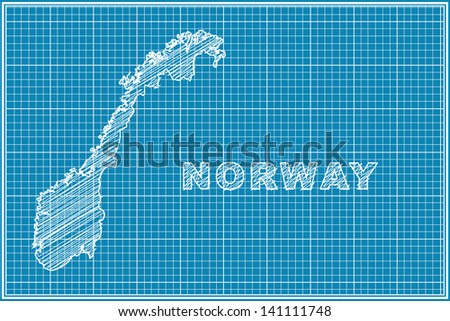 scribble sketch of Norway map on blueprint