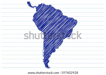 scribble sketch of South America on a notepad sheet - stock vector
