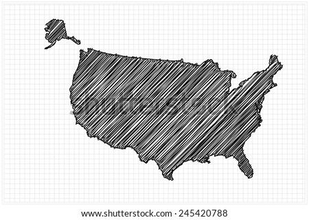 Scribble Map United States America Sketch Stock Vector - Us map sketch