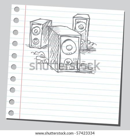Scribble speakers - stock vector