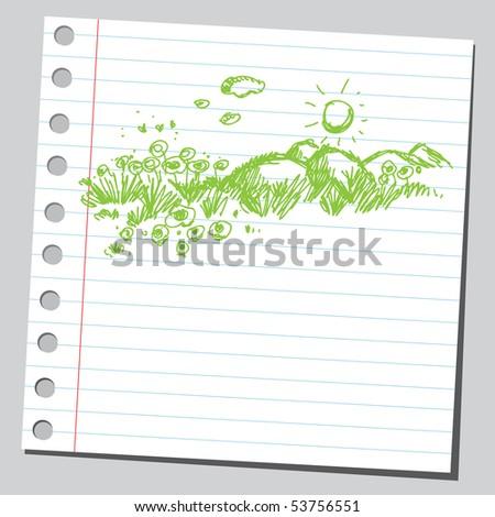 Scribble spring meadow - stock vector