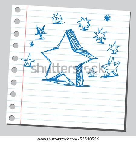 Scribble stars - stock vector