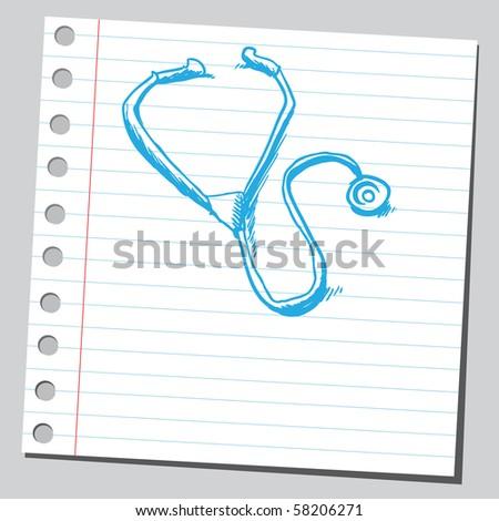 Scribble stethoscope - stock vector
