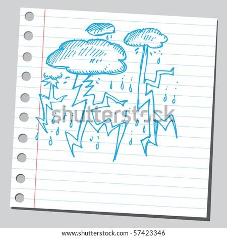 Scribble storm clouds - stock vector