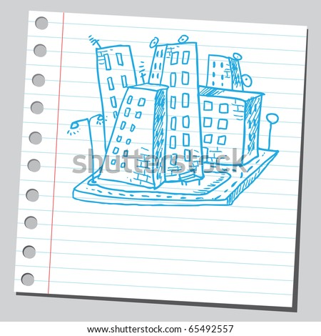 Scribble style illustration of a city - stock vector