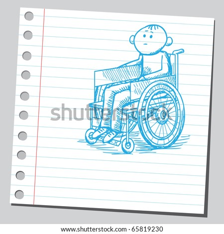Scribble style illustration of a handicapped man in a wheelchair - stock vector