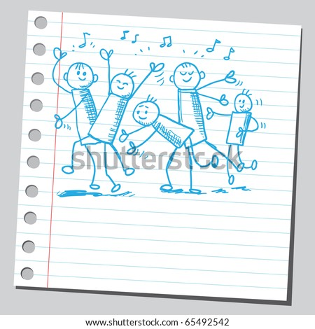 Scribble style illustration of a party people - stock vector