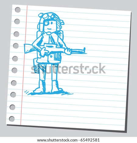 Scribble style illustration of a soldier - stock vector