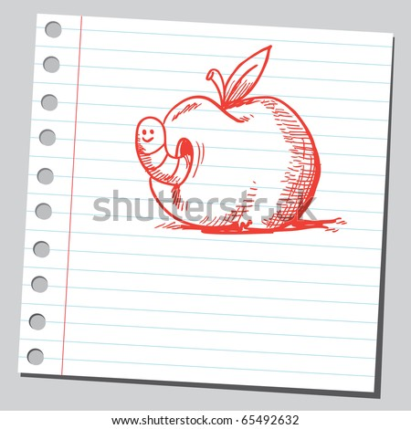 Scribble style illustration of a worm in apple - stock vector