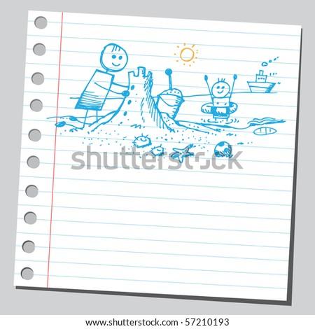 Scribble summer kids - stock vector
