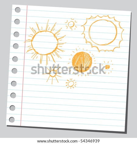 Scribble suns - stock vector