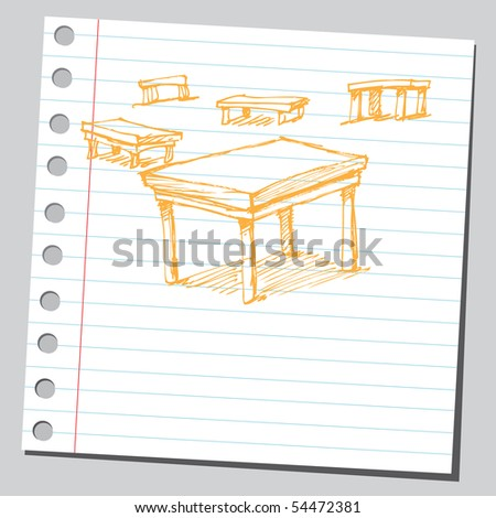 Scribble tables - stock vector