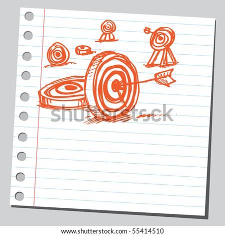 Scribble targets - stock vector