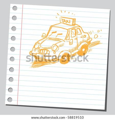 Scribble taxi - stock vector
