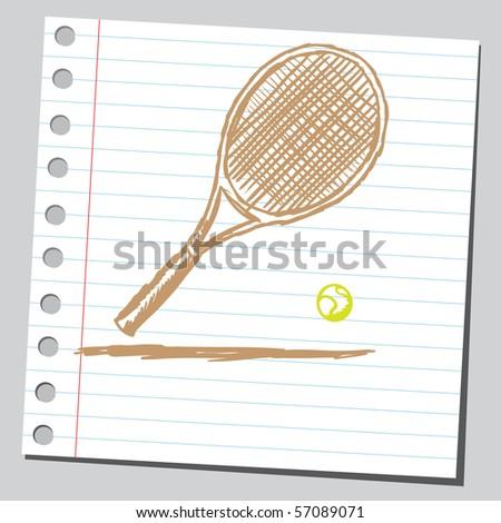 Scribble tennis racket - stock vector