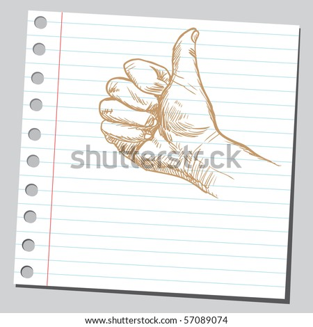 Scribble thumb up - stock vector