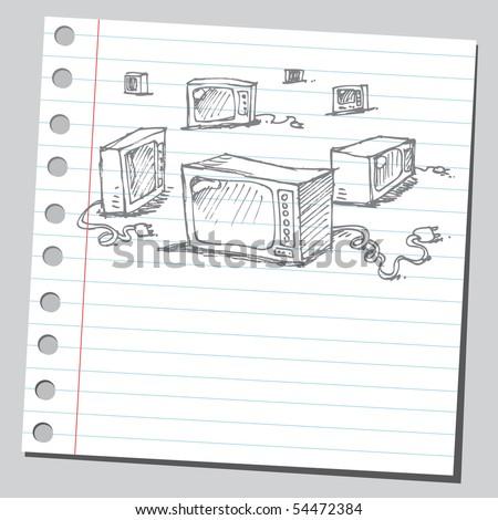 Scribble TV - stock vector