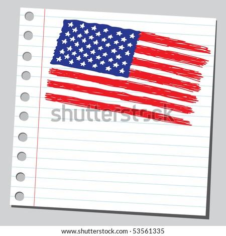 Scribble USA flag - stock vector