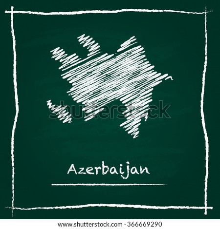 Scribble vector map of Azerbaijan hand drawn with chalk on a green blackboard. Chalkboard map drawing in childish style. White chalk texture on green background. - stock vector