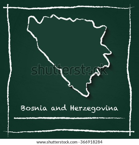 Scribble vector map of Bosnia and Herzegovina hand drawn with chalk on a green blackboard. Chalkboard map drawing in childish style. White chalk texture on green background. - stock vector