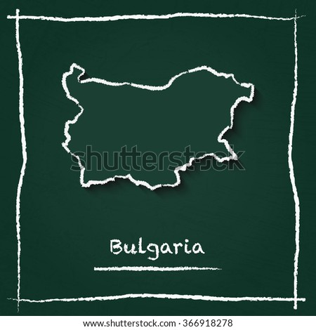 Scribble vector map of Bulgaria hand drawn with chalk on a green blackboard. Chalkboard map drawing in childish style. White chalk texture on green background. - stock vector
