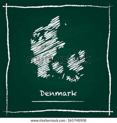Scribble vector map of Denmark hand drawn with chalk on a green blackboard. Chalkboard map drawing in childish style. White chalk texture on green background. - stock vector