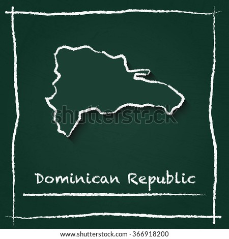 Scribble vector map of Dominican Republic hand drawn with chalk on a green blackboard. Chalkboard map drawing in childish style. White chalk texture on green background. - stock vector