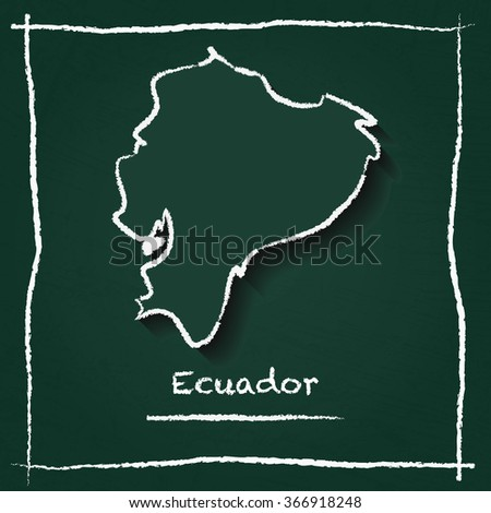 Scribble vector map of Ecuador hand drawn with chalk on a green blackboard. Chalkboard map drawing in childish style. White chalk texture on green background. - stock vector