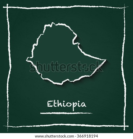 Scribble vector map of Ethiopia hand drawn with chalk on a green blackboard. Chalkboard map drawing in childish style. White chalk texture on green background. - stock vector