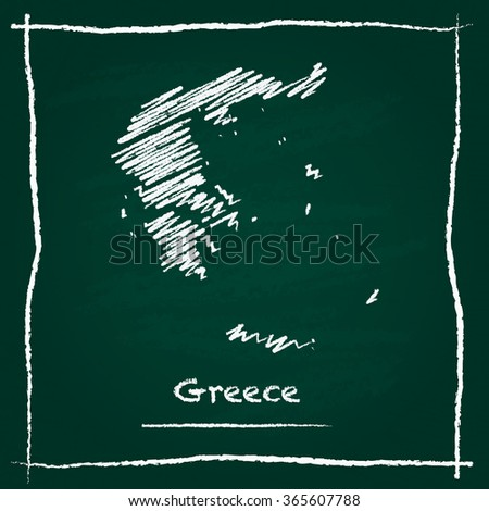 Scribble vector map of Greece hand drawn with chalk on a green blackboard. Chalkboard map drawing in childish style. White chalk texture on green background. - stock vector