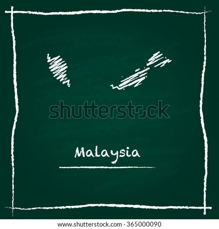 Scribble vector map of Malaysia hand drawn with chalk on a green blackboard. Chalkboard map drawing in childish style. White chalk texture on green background. - stock vector