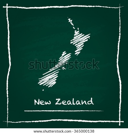Scribble vector map of New Zealand hand drawn with chalk on a green blackboard. Chalkboard map drawing in childish style. White chalk texture on green background. - stock vector