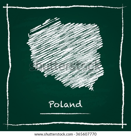 Scribble vector map of Poland hand drawn with chalk on a green blackboard. Chalkboard map drawing in childish style. White chalk texture on green background. - stock vector