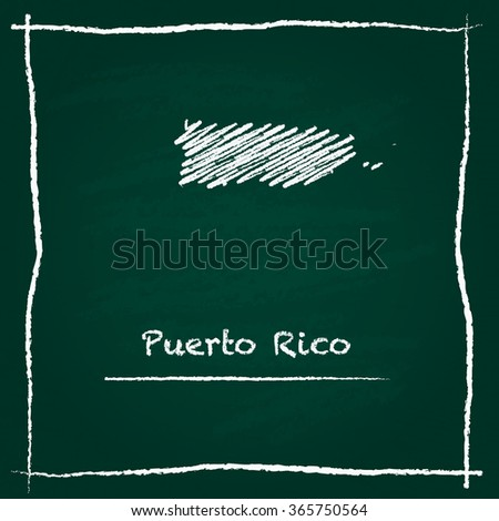 Scribble vector map of Puerto Rico hand drawn with chalk on a green blackboard. Chalkboard map drawing in childish style. White chalk texture on green background. - stock vector